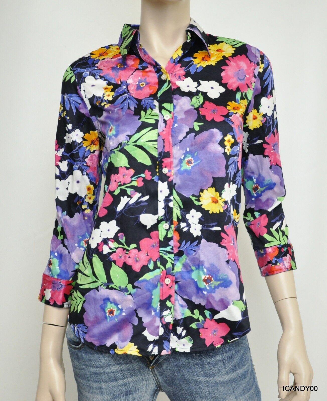 Nwt  Ralph Lauren 3 4 Sleeve Button Front Shirt Top Blouse Navy Floral S