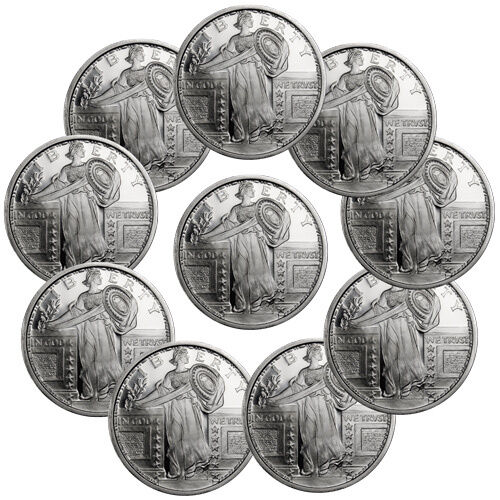 Standing Liberty Design 1 Troy Ounce .999 Fine Silver Round - Lot of 10 SKU35435