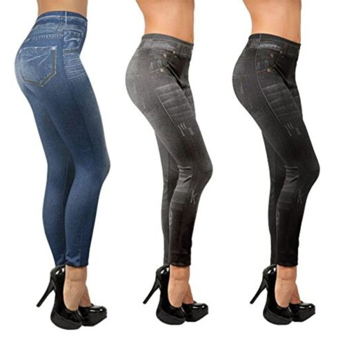 Slim Jeans Donna Jeans Ottica Stretch Leggings Jeggings pacco 3er