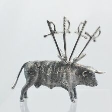 Sterling Silver Bull Toothpick Holder with 4 Sword Toothpicks Artist Signed LSG
