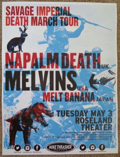 NAPALM DEATH /& THE MELVINS 2016 Gig POSTER Portland Oregon Concert
