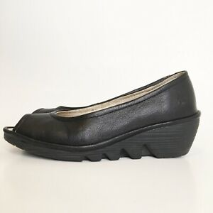 FLY-London-36-Black-Matte-Leather-Low-Wedge-Comfort-Pumps-Open-Toe-Shoes-5-5-6
