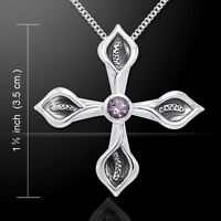 Calla Lilly Amethyst Cross Sterling Silver Pendant By Peter Stone Fine Jewelry