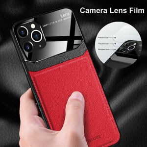 For-iPhone-11-Pro-Max-XR-X-XS-8-Plus-Hybrid-Protective-Glass-Leather-Case-Cover