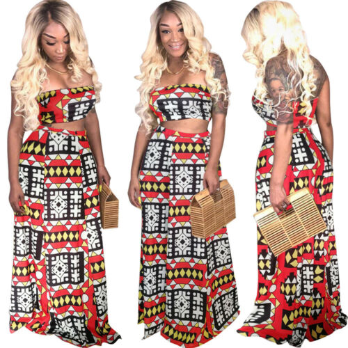 Women Strapless Crop Top Print Long Skirt Suit Casual Party Club Dresses 2pc
