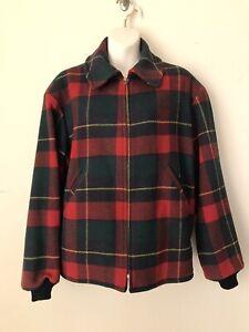Vintage Pendleton Red Green Plaid Wool Womens Bomber Jacket Coat Shoulder Pads M