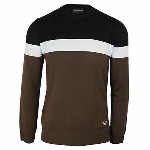 EMPORIO-ARMANI-Pullover-Homme-noir-blanc-marron-pull-ras-du-cou