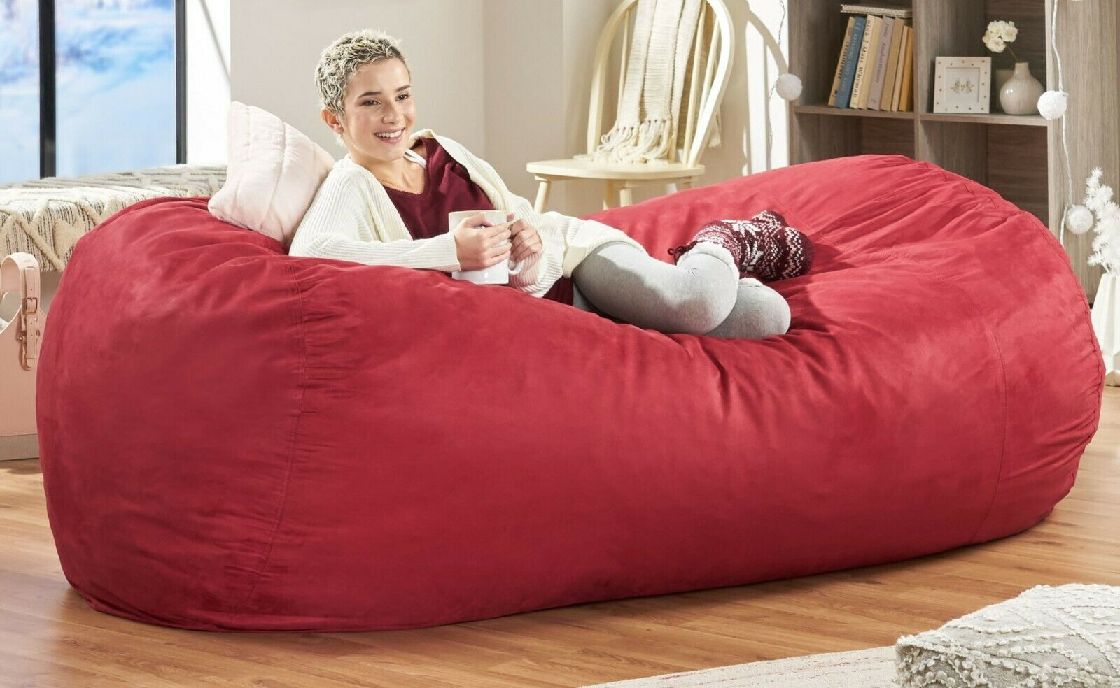 Bean Bag Chair 8 Foot Lounger Soft Love Sac Large Bedroom Kids Adult Lounge Red For Sale Online