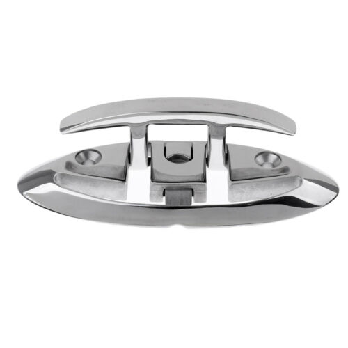 """Fold Down Boat Cleat Surface Mount 6/"""" Stainless Steel Lock Down Spring Up"""