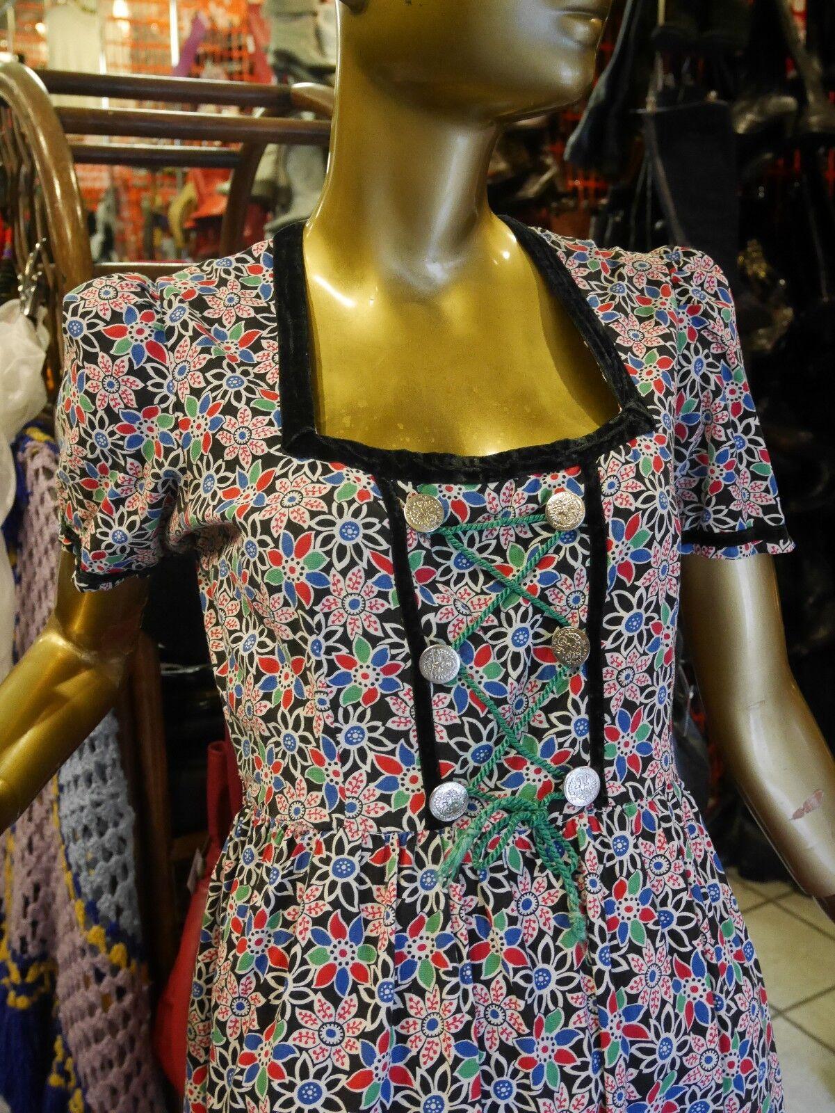 Kleid Folklore Dirndl S-M 50er Blaumen TRUE VINTAGE 50s floral bavarian dress