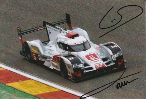 Oliver Jarvis and Loic Duval Hand Signed Audi 7x5 Photo Le Mans 2.