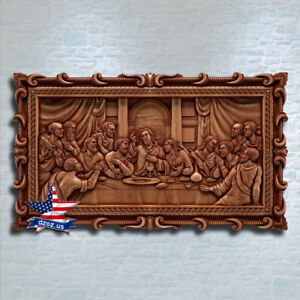 Last supper carving in solid teak vintage collectibles