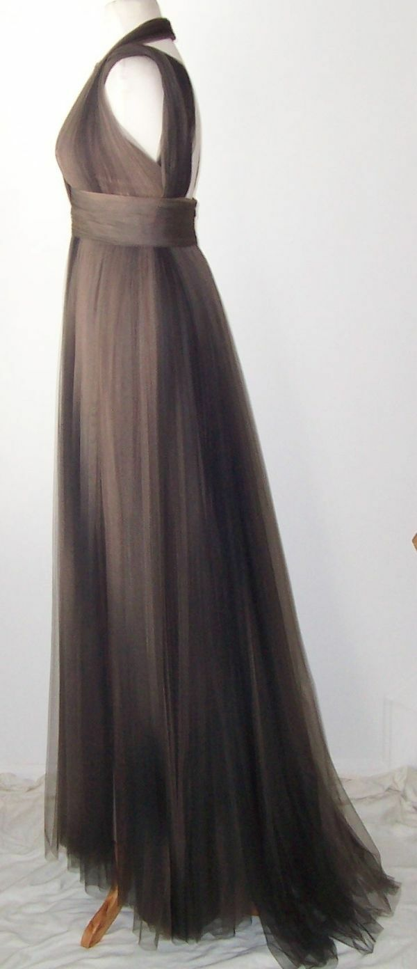 ELIE SAAB Brown Ombre Tulle Tulle Tulle Lace Silk Dress Gown 12 c11f45