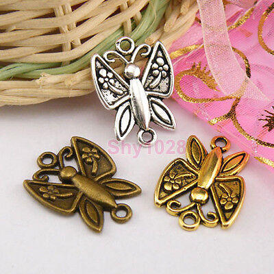 5Pc Tibetan Silver,Gold,Bronze Butterfly Connector Charm Pendant 16.5x23mm M1291