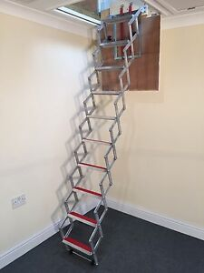 concertina loft ladders floor to ceiling heights 8ft. Black Bedroom Furniture Sets. Home Design Ideas