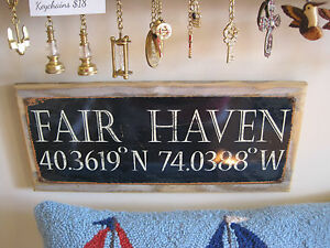 Image Is Loading Fair Haven 034 Sign Custom Wooden Sign Beach