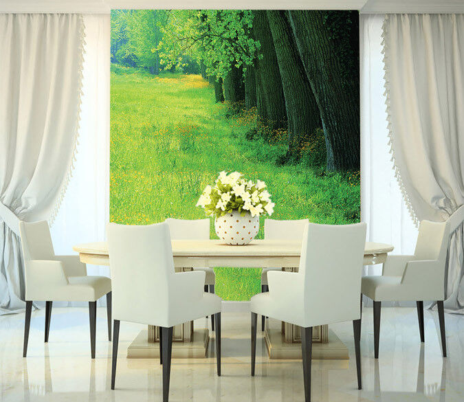 3D Grünes Gras Bäume 91 Tapete Wandgemälde Tapete Tapeten Bild Familie DE Summer