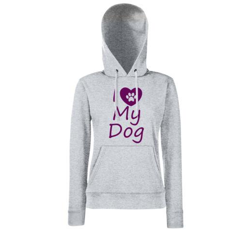 I LOVE MY DOG-Girls HOODIE-DOG Cani Sport AGILITY funshirt amore regalo