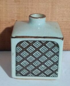 """VTG Otagiri Japan OMC 3.25"""" Tall Stoneware Ceramic Bud Vase Orig Sticker Crazing"""