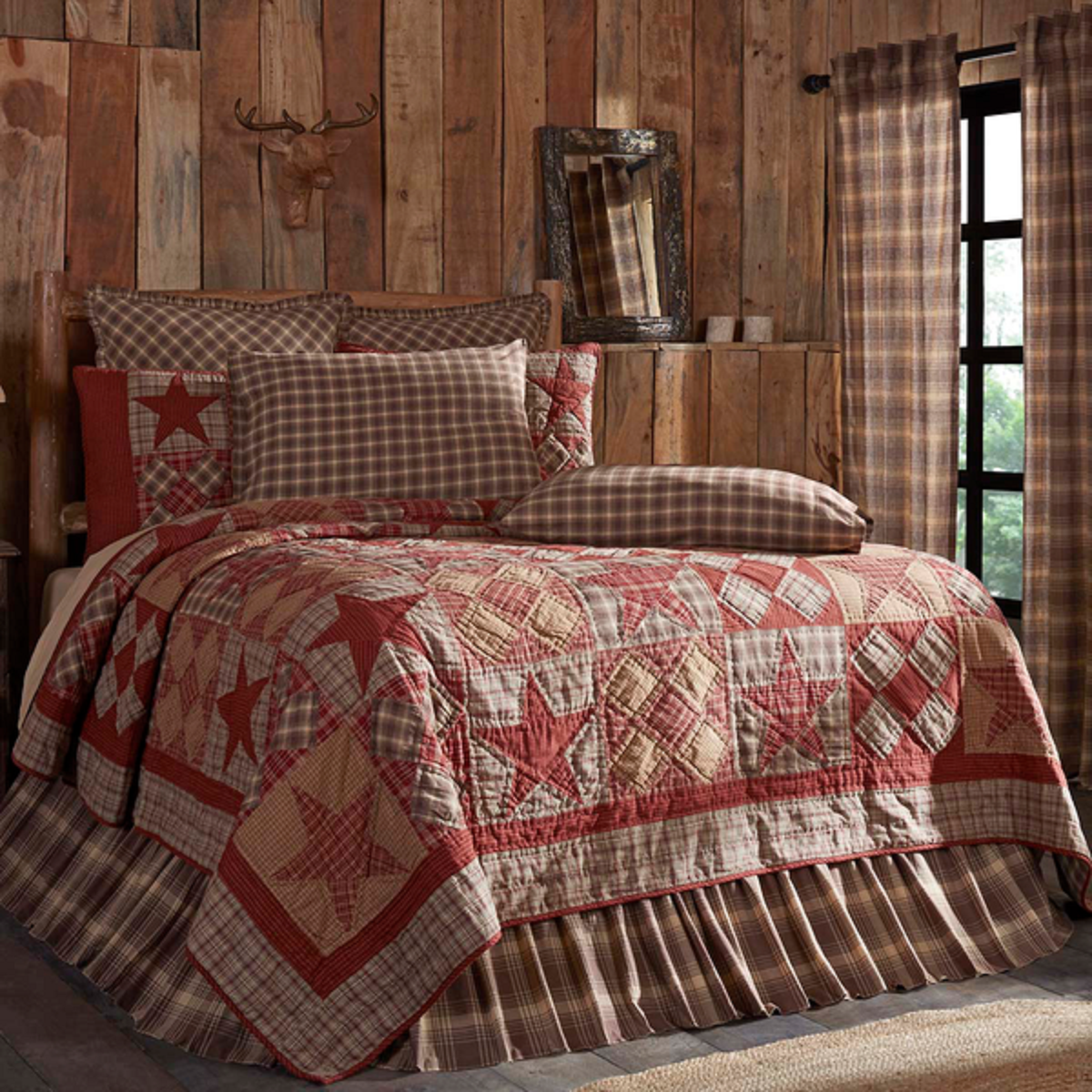 Dawson Star Bedding Quilt Rustic Lodge Patchwork Stars Lux, King, Queen, Twin