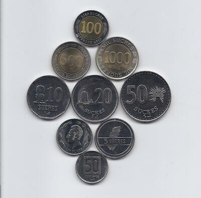 1-1000 sucres 1988-1997 UNC Ecuador set of 7 coins