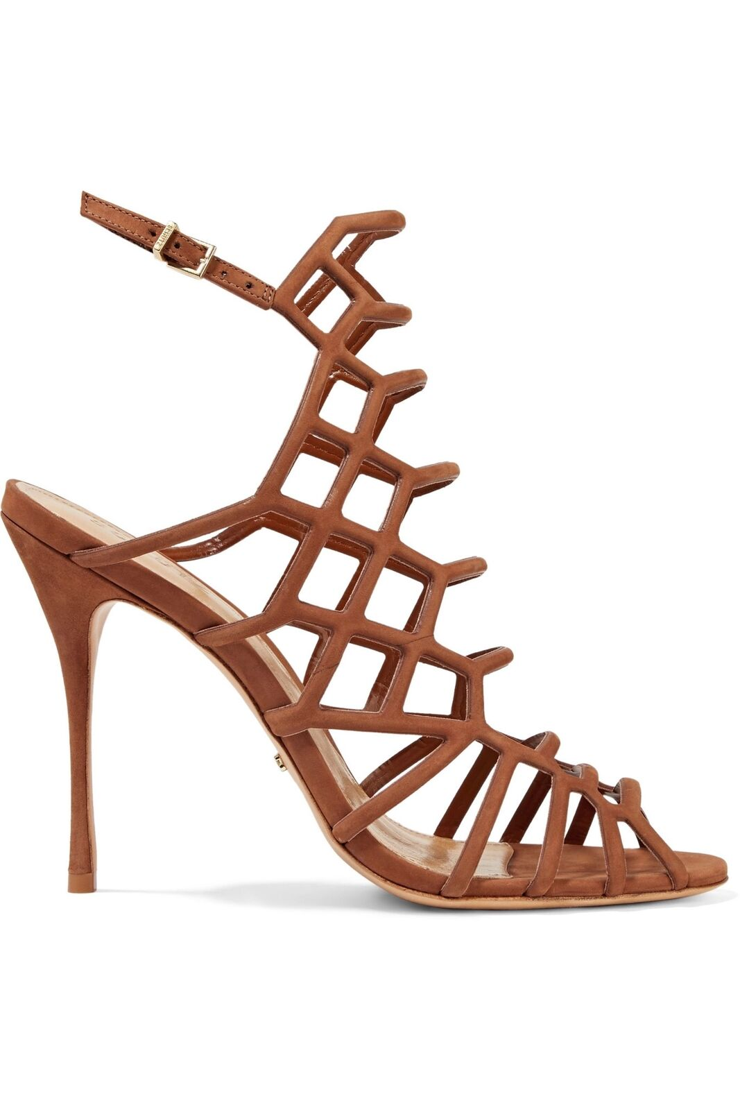 Schutz Juliana Juliana Juliana Ginger marron Nubuck Stiletto High Heel Thin Strappy Caged Sandals 2c6963