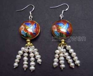 4-5mm-Round-White-Natural-Pearl-with-18mm-Red-Cloisonne-Dangle-earring-ear586