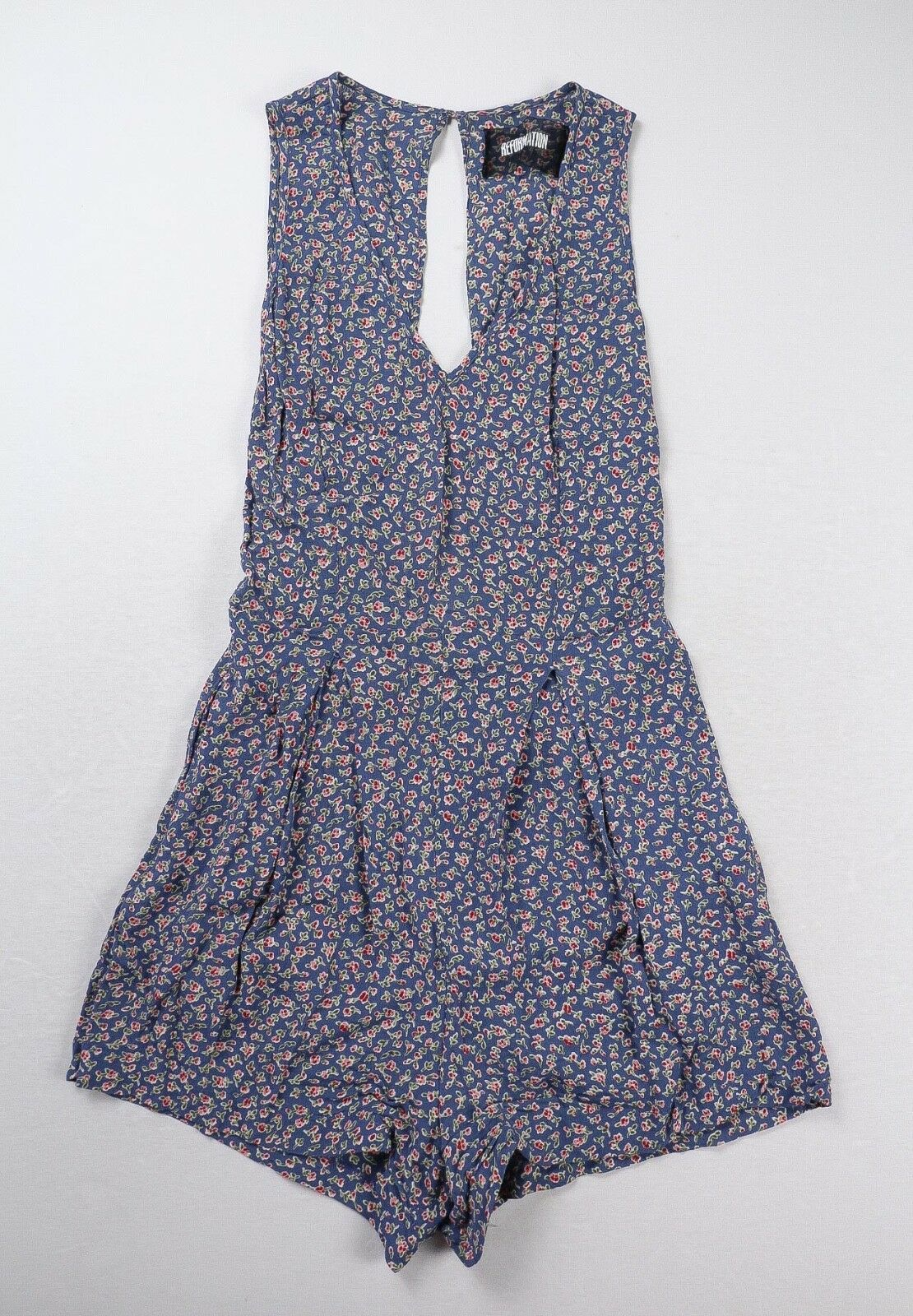 Reformation bluee Floral Print Petula Romper Size 0P