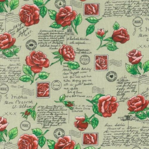 89100-101 Sent with Love NUTEX FABRIC 100/% Cotton Antique
