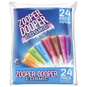 ZOOPER DOOPER 8 COSMIC FLAVOUR WATER ICE TUBES 24 x 70mL CONFECTION DESSERT