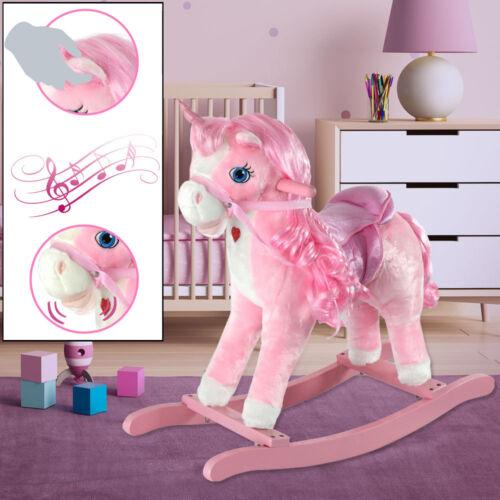 Holzspielzeug Kinder Spiel Zimmer Einhorn Schaukel Pferd Mädchen Spielzeug ROSA Sound Effekt