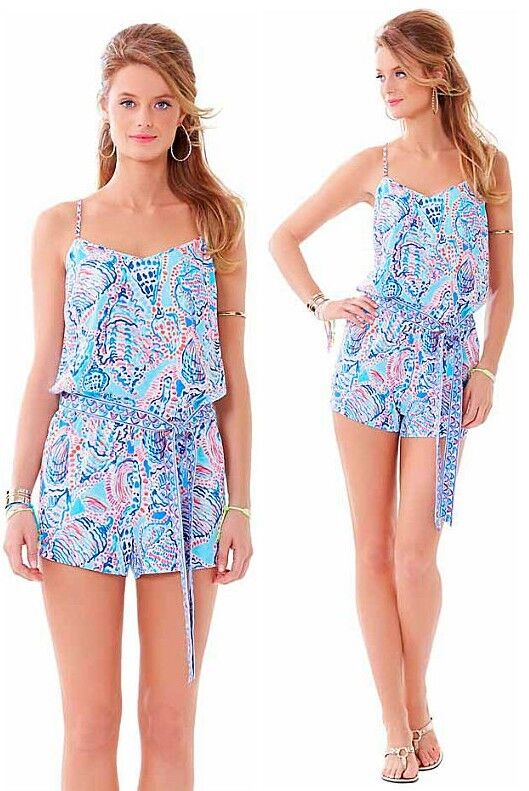 158 Lilly Pulitzer Dusk Shell Me About It Engineered Tie Waist Short Romper