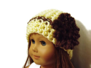 Crochet-Hat-Fits-American-Girl-Dolls-18-034-Doll-Clothes-Yellow-with-Brown-Flower