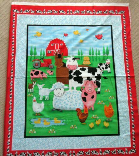"""Adorable 1 /""""la vida/"""" tela de algodón acolchado de granja//panel de elaboración de Coser Ménsula"""