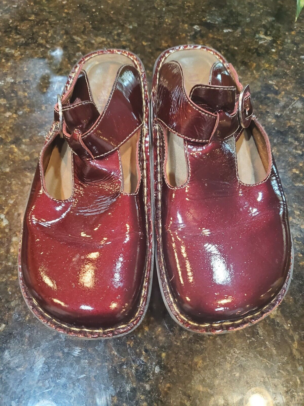 ALEGRIA by PG Lite Burgundy Patent Leather Women's Slip On Clogs Size 40