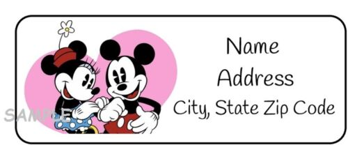 30 Mickey Mouse and Minnie Mouse Valentines address Labels,heart,tags,disney