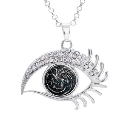 16mm Game of Thrones 3 Head Dragon Noosa Snap Crystal Evil Eye Shaped Necklace