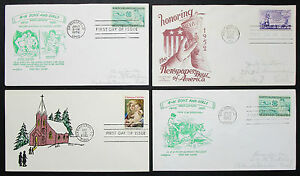US-Postage-Set-of-4-Covers-Letters-Envelopes-Illustrated-FDC-USA-Letters-H-8320