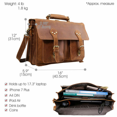 Men Leather 17''Laptop Briefcase Backpack Saddle Messenger Bag Portfolio Satchel