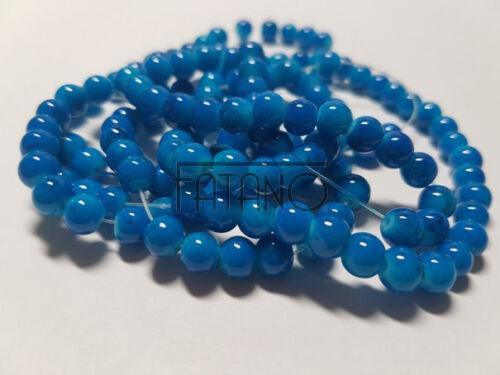 Cuentas de vidrio perlas jaspeado 6mm turquesa 1 Strang circa 140 trozo de bricolaje g30
