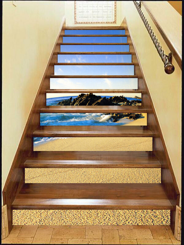 3D Sandy Beach  58 Stair Risers Decoration Photo Mural Vinyl Decal Wallpaper AU