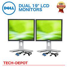 """Dell Dual UltraSharp 19"""" Silver/ Black  LCD Monitors W/ USB Hub - Matching 19in"""