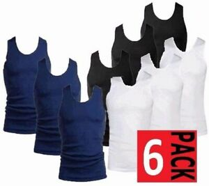 New Mens 6 Pack Vests Pure 100/% Cotton White Gym Top Summer Training S M L XL
