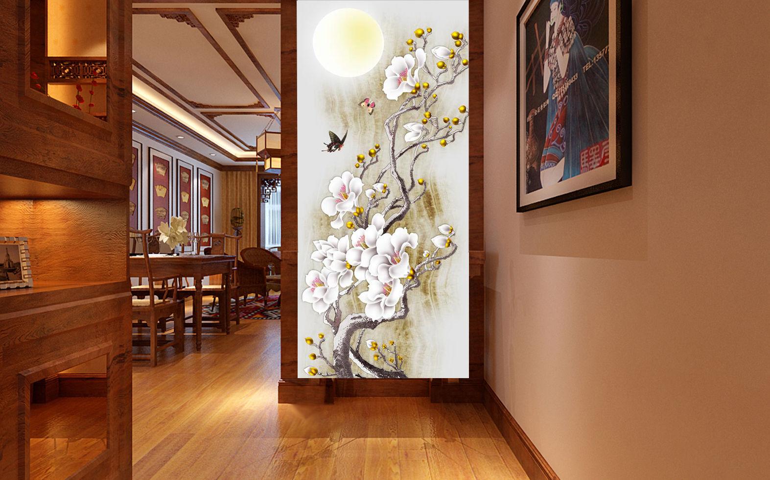 3D Flowers Moonlight Wall Paper Wall Print Decal Wall Deco Indoor wall Murals