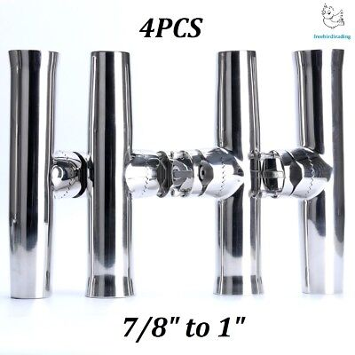 """4X Stainless Tournament Style Clamp on Fishing Rod Holder for Rail 1/""""to1-1//4/"""" US"""