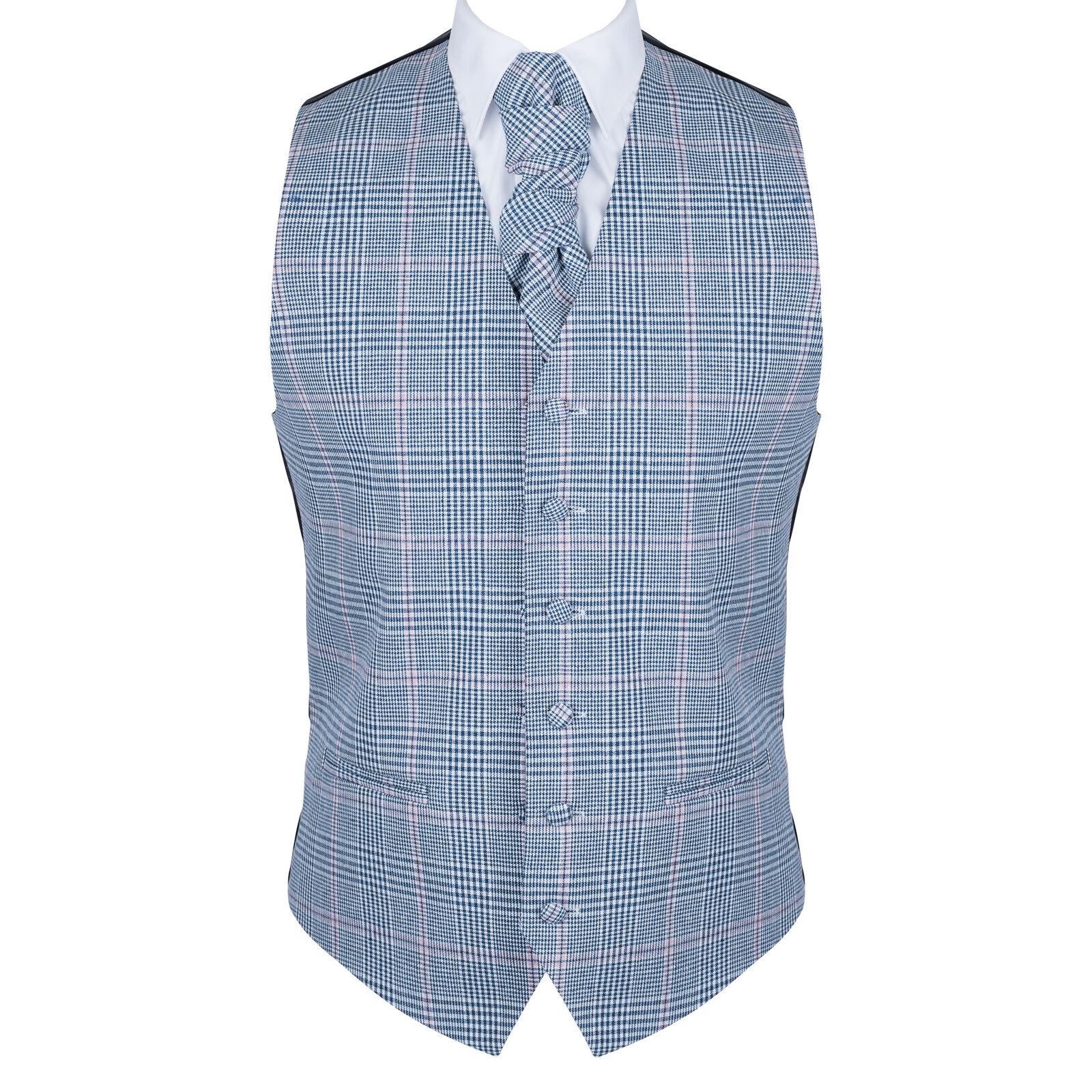UK Men's Dutch Blue Wedding Waistcoat Check 6 Button Jacquard Suit Vest Tailored