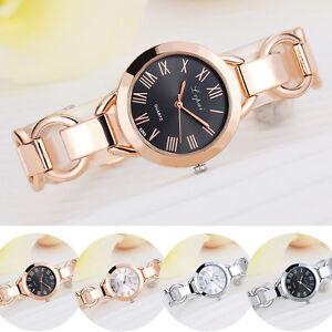 Fashion-Women-Lady-Roman-Numerals-Stainless-Steel-Band-Analog-Quartz-Wrist-Watch