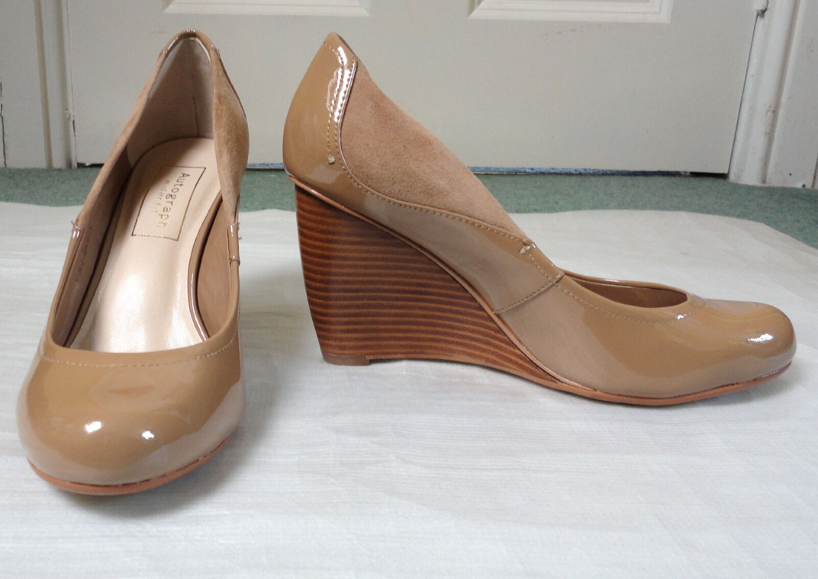 Autograph Leather Wide Fit Wedges with Insolia, Carmel Colour, SZ 4.5, Was 49.50
