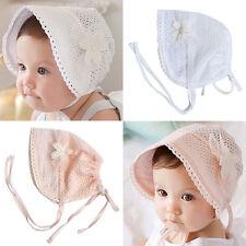 cdb3557826c Newborn Infant Beach Bucket Hat Baby Girl Boy Sun Summer Cap Lace Bonnet  White