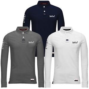 Homme-Polo-T-Shirt-etalon-en-coton-a-manches-longues-a-col-en-pique-Haut-Decontracte-Neuf